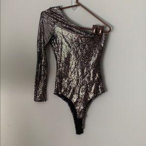 Forever 21 Codigo One Sleeve Sequin Bodysuit